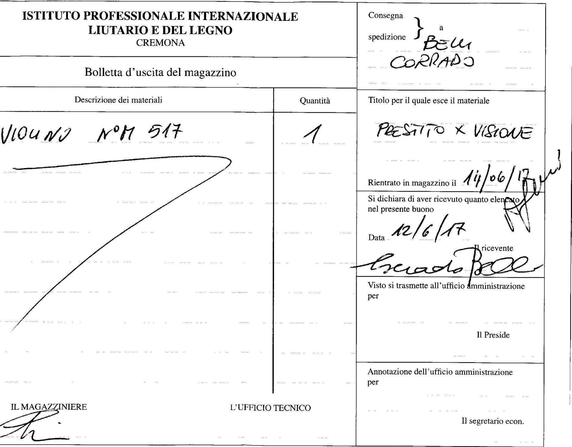 Violino C. Belli 1978 - Documento museo scuola liuteria Cremona
